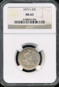1875 S 20 CENT PIECE NGC MS 63  ESPECIALLY NICE FOR THE GRADE