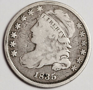 1835 BUST DIME. ERROR.  EXTRA METAL ABOVE