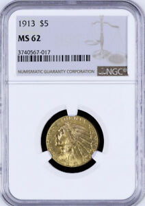 1913 $5.00 INDIAN HEAD HALF EAGLE GOLD COIN CHOICE NGC MINT STATE MS 62
