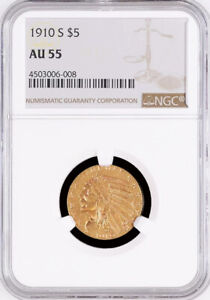 1910 S $5.00 INDIAN HALF EAGLE GOLD COIN CHOICE NGC ALMOST UNCIRCULATED AU 55