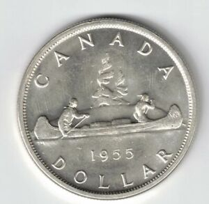Click now to see the BUY IT NOW Price! CANADA 1955 ARNPRIOR W/DIE BREAK VOYAGEUR SILVER DOLLAR ELIZABETH II SILVER COIN