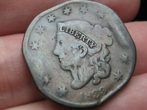 1833 MATRON HEAD LARGE CENT PENNY VG DETAILS
