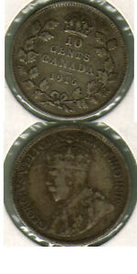 1916 CANADA 10 CENTS COIN