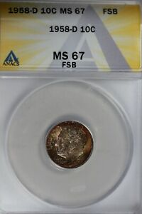 Click now to see the BUY IT NOW Price! 1958 D  .10   ANACS  MS 67 FSB   ROOSEVELT DIME ROOSEVELT HEAD 10C