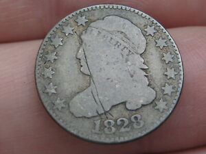 1828 CAPPED BUST SILVER DIME  LARGE DATE  GOOD DETAILS