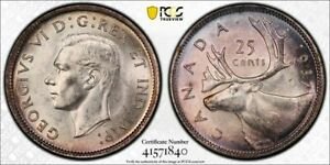 1937 CANADA 25 CENT PCGS MS62 LOTG826 SILVER  NICE UNC