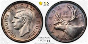 1941 CANADA 25 CENT PCGS MS62 LOTG830 SILVER  CHOICE UNC