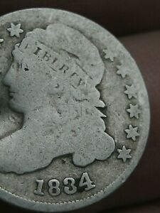 1834 CAPPED BUST SILVER DIME  LARGE 4  VG DETAILS