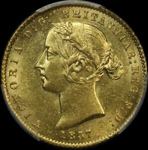Click now to see the BUY IT NOW Price! 1857 SYDNEY MINT TYPE II HALF SOVEREIGN UNC  PCGS MS62