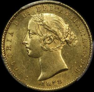 Click now to see the BUY IT NOW Price! 1858 SYDNEY MINT TYPE II HALF SOVEREIGN UNC  PCGS MS62