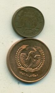 2 DIFFERENT COINS FROM AFGHANISTAN   1937 2 PUL & 1973 50 PUL