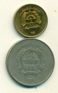 2 DIFFERENT COINS FROM AFGHANISTAN   25 PUL & 5 AFGHANIS  BOTH DATING 1980