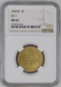 1809/8 BD 1 NGC MS62 $5 GOLD CAPPED BUST