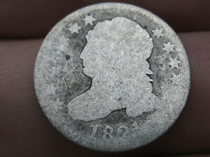 1821 CAPPED BUST SILVER DIME  LARGE DATE ABOUT GOOD DETAILS