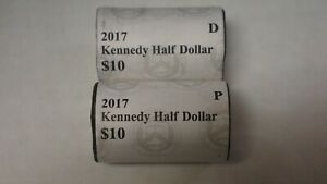 2017 P & D US MINT BRILLIANT SEALED KENNEDY HALF DOLLAR COIN ROLL UNCIRCULATED
