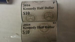 2016 P & D US MINT BRILLIANT SEALED KENNEDY HALF DOLLAR COIN ROLL UNCIRCULATED
