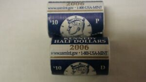 2006 P & D US MINT BRILLIANT SEALED KENNEDY HALF DOLLAR COIN ROLL UNCIRCULATED