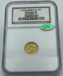 1922 GRANT WITH STAR NGC & CAC MS67 GOLD COMMEMORATIVE DOLLAR