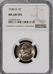 Click now to see the BUY IT NOW Price! 1940 D 5C FS SILVER JEFFERSON NICKEL NGC MS68 5FS     6208908 004