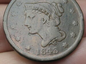 1843 BRAIDED HAIR LARGE CENT PENNY PETITE HEAD SMALL LETTERS FINE DETAILS
