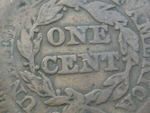 1843 BRAIDED HAIR LARGE CENT PENNY  PETITE LARGE LETTERS N 4