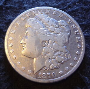 1879 CC MORGAN SILVER DOLLAR   SOLID FINE F DETAILS FROM THE CARSON CITY MINT