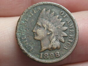 1898 INDIAN HEAD CENT PENNY FINE/VF OBVERSE DETAILS PARTIAL LIBERTY