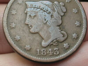 1843 BRAIDED HAIR LARGE CENT PENNY PETITE HEAD LARGE LETTERS FINE DETAILS N 4