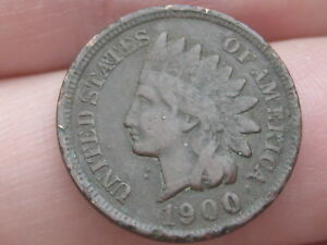 1900 INDIAN HEAD CENT PENNY FINE/VF DETAILS LIBERTY VISIBLE