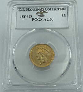Click now to see the BUY IT NOW Price! 1854 D PCGS AU50 $3 GOLD INDIAN PRINCESS D.L. HANSEN COLLECTION
