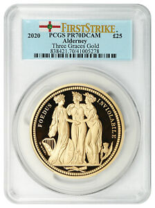 Click now to see the BUY IT NOW Price! 2020 ALDERNEY THREE GRACES GB 25 POUNDS PCGS PR 70 DCAM  1ST STRIKE BOX AND COA