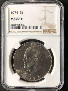Click now to see the BUY IT NOW Price! 1974 $1 EISENHOWER DOLLAR NGC MS66       6208878 006