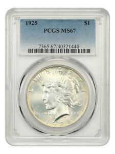 Click now to see the BUY IT NOW Price! 1925 $1 PCGS MS67   GORGEOUS PREMIUM GEM   PEACE SILVER DOLLAR
