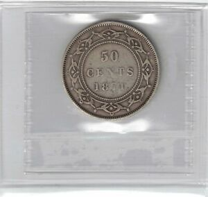 NEWFOUNDLAND 1874 50 CENTS QUEEN VICTORIA STERLING SILVER COIN GRADED ICCS F 15