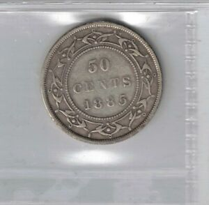NEWFOUNDLAND 1885 50 CENTS QUEEN VICTORIA STERLING SILVER COIN GRADED ICCS F 15