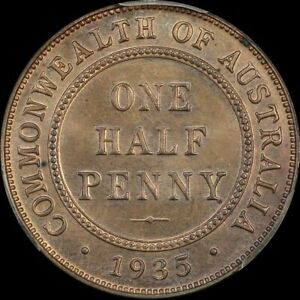 Click now to see the BUY IT NOW Price! 1935 MELBOURNE PROOF HALFPENNY PCGS PR64RB