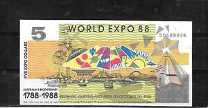 AUSTRALIA EXPO 1988 AU UNC $5 DOLLAR BANKNOTE PAPER MONEY CURRENCY NOTE