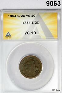 1854 HALF CENT ANACS CERTIFIED VG10 9063
