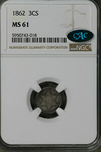NICE UNCIRCULATED 1861 THREE CENT SILVER    NGC MS61CAC