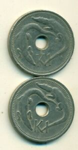 2 DIFFERENT 1 KINA COINS W/ CROCODILE FROM PAPAU NEW GUINEA DATING 1975 & 1999