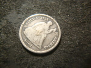 1863 S G VG  SEATED LIBERTY HALF DIME NICE RIMS DECENT COIN LAX