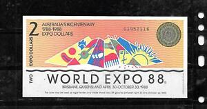 AUSTRALIA EXPO 1988 AU UNCIRCULATED $2 DOLLAR BANKNOTE PAPER MONEY CURRENCY NOTE