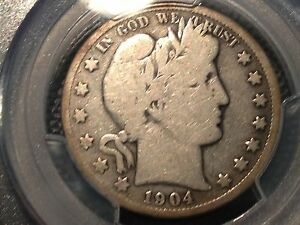 1904 S  PCGS  G 6  BARBER HALF DOLLAR   LY AND PART OF IT G VG