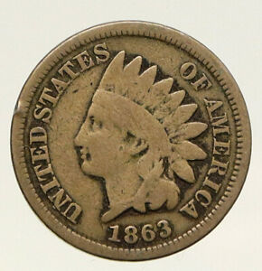 1863 UNITED STATES CIVIL WAR TIME PATRIOTIC WITH SHIELD INDIAN CENT COIN I93189