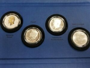 2014 50TH ANNIVERSARY KENNEDY HALF DOLLAR SILVER COIN COLLECTION 4 COIN SET L209
