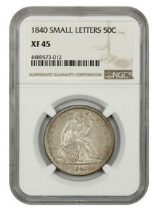 1840 50C NGC XF45  SMALL LETTERS   ISSUE   LIBERTY SEATED HALF DOLLAR