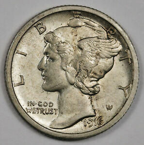 1916 S MERCURY DIME.  66  FULLY SEPARATED HORIZONTAL BANDS.  UNC.  162808