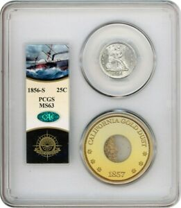 S.S. CENTRAL AMERICA: 1856 S 25C PCGS/CAC MS63 & PINCH OF GOLD DUST