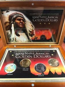 2009 NATIVE AMERICAN GOLDEN DOLLARS 4 COIN COLLECTION GOLD AND SILVER ENHANCED