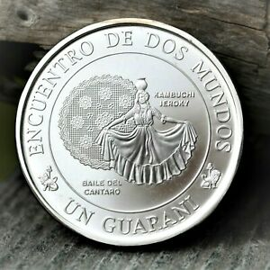 1997 PARAGUAY IBERO AMERICAN TRADITIONAL DANCE SILVER COIN MEETING OF TWO WORLDS